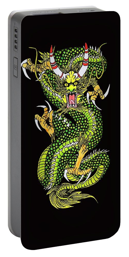 Dragon Portable Battery Charger featuring the digital art Battle Dragon by Alan Morrison