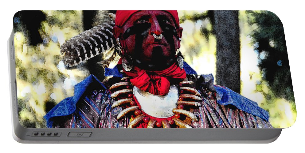 Seminole Portable Battery Charger featuring the painting Battle Dress by David Lee Thompson