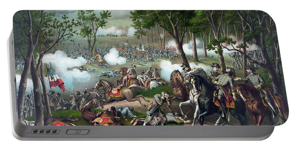 Civil War Portable Battery Charger featuring the painting Battle Of Chancellorsville - Death Of Stonewall by War Is Hell Store