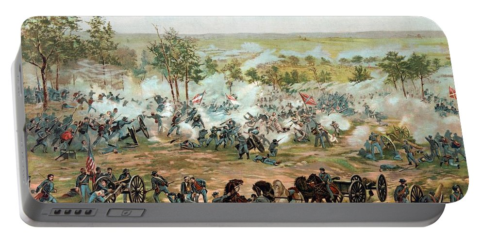 Gettysburg Portable Battery Charger featuring the painting Battle of Gettysburg by War Is Hell Store