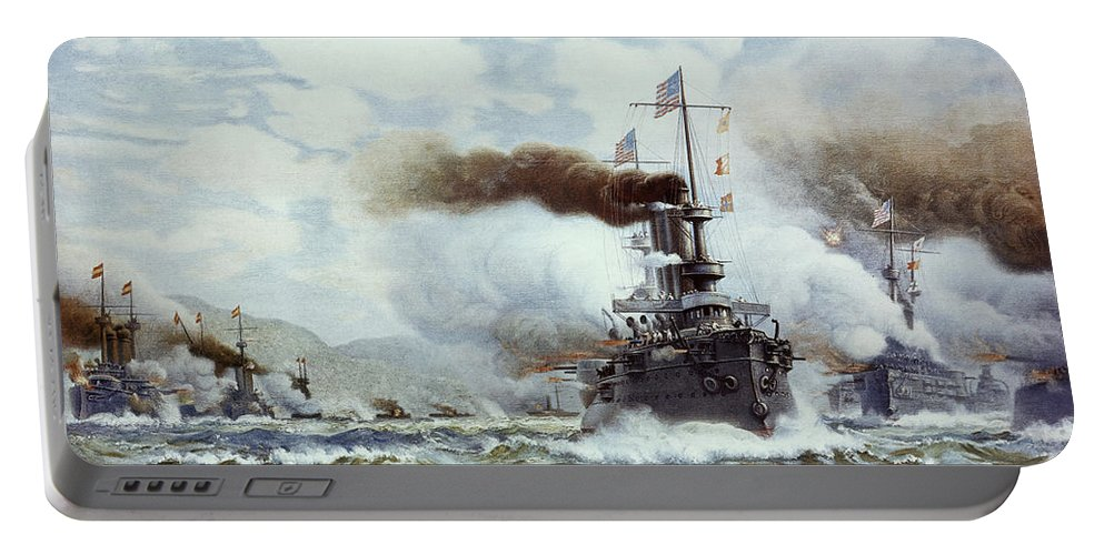 1898 Portable Battery Charger featuring the painting Battle Of Manila Bay 1898 by Granger