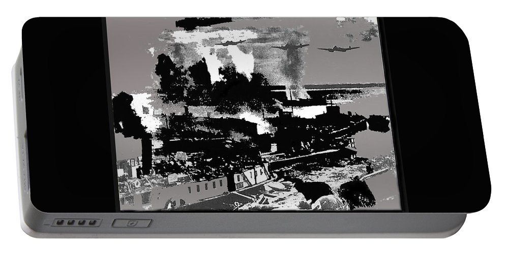 Battle Of Stalingrad Nazi Plane Crossing Volga River 1942 Portable Battery Charger featuring the photograph Battle Of Stalingrad Nazi Plane Crossing Volga River 1942 by David Lee Guss