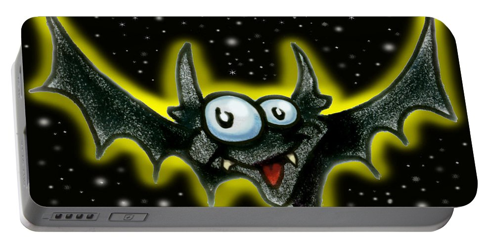 Bat Portable Battery Charger featuring the greeting card Batty by Kevin Middleton