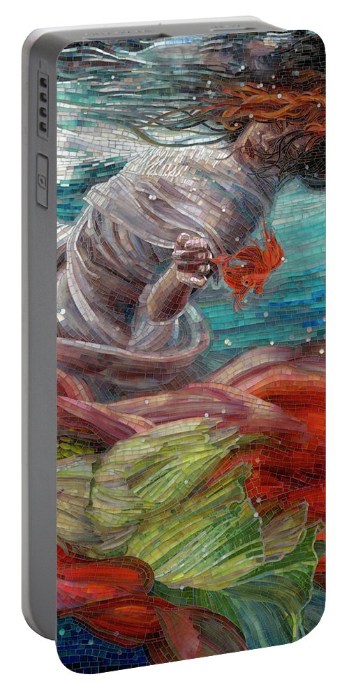 Mermaid Portable Battery Charger featuring the painting Batyam by Mia Tavonatti