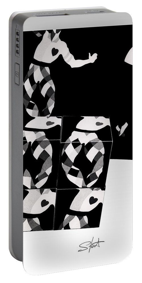 Dance Portable Battery Charger featuring the photograph Bauhaus Ballet 2 The Cubist Harlequin by Charles Stuart