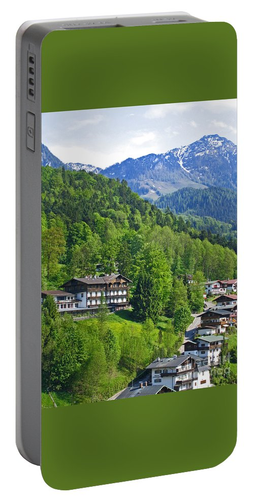 Germany Portable Battery Charger featuring the photograph Bavarian Mountainside by Ann Horn