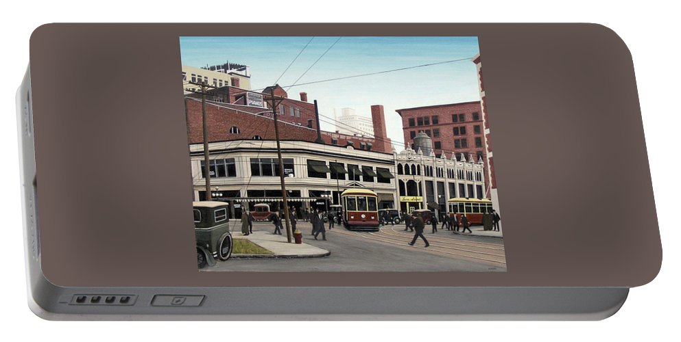 Historic Toronto Portable Battery Charger featuring the painting Bay And Queen Streets C1940 by Kenneth M Kirsch