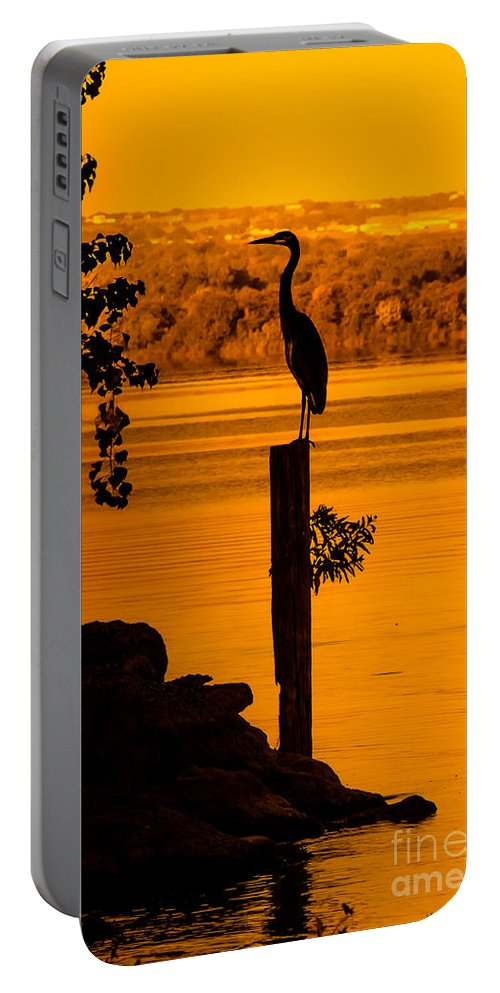 Animal Portable Battery Charger featuring the photograph Bay At Sunrise - Heron by Robert Frederick
