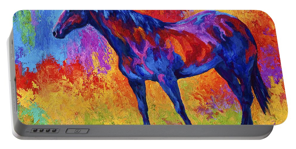 Horses Portable Battery Charger featuring the painting Bay Mare II by Marion Rose