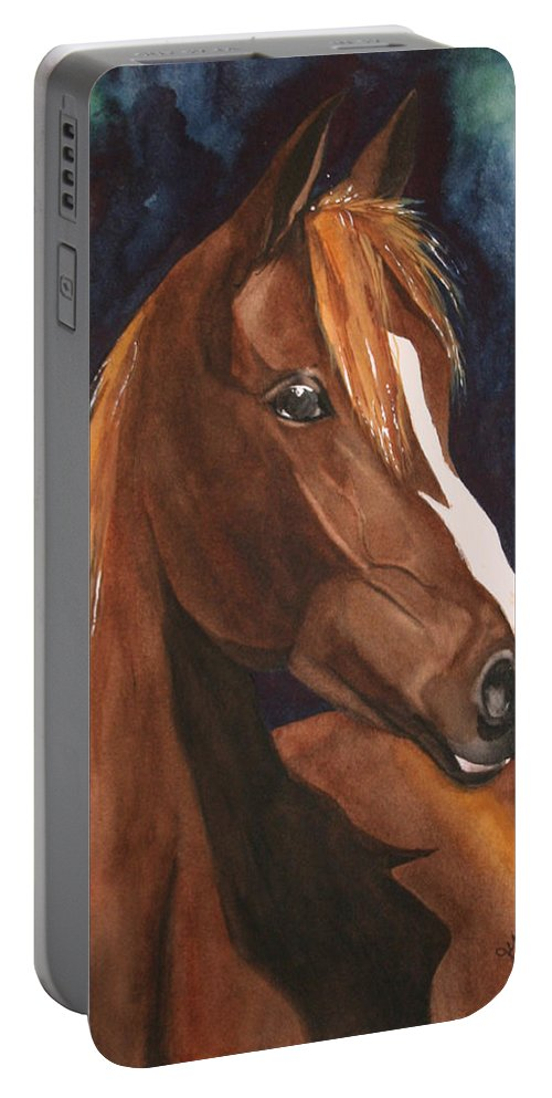 Horse Portable Battery Charger featuring the painting Bay on Blue 2 by Jean Blackmer