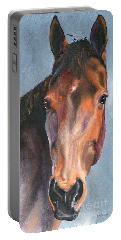 Horse Portable Battery Charger featuring the painting Thoroughbred Royalty by Susan A Becker