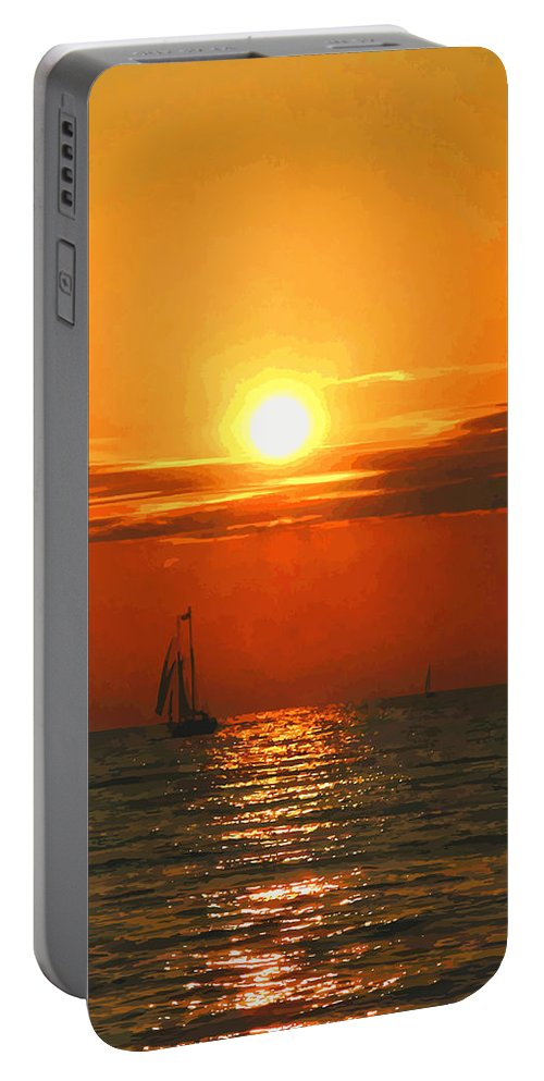 Bayfield Portable Battery Charger featuring the digital art Bayfield Sunset - 1 by Brian Shaw