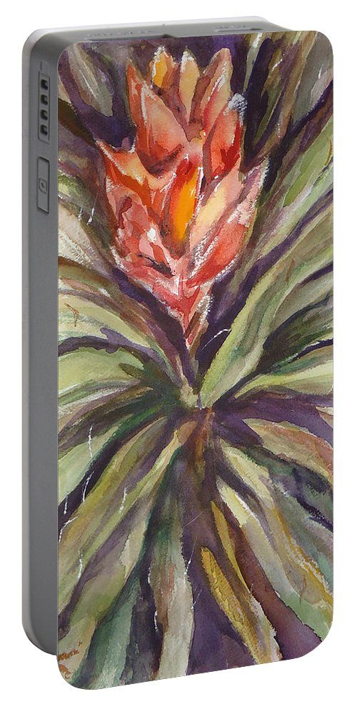 A Bayonet Cactus In Bloom. Flower Portable Battery Charger featuring the painting Bayonet Cactus by Charme Curtin