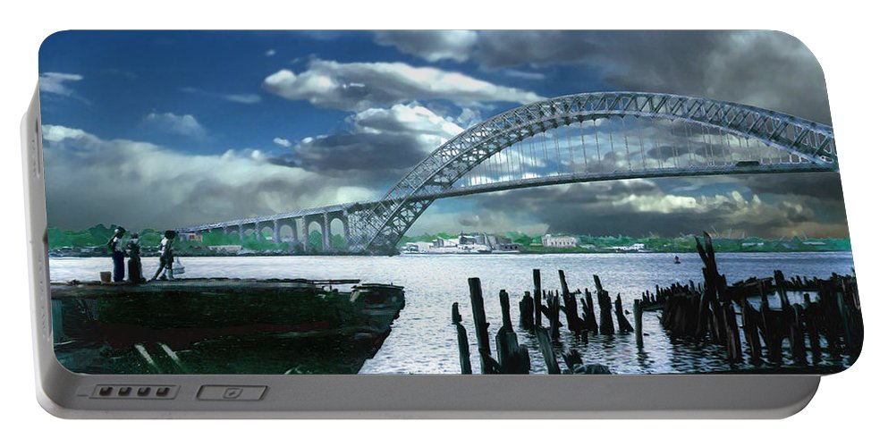 Seascape Portable Battery Charger featuring the photograph Bayonne Bridge by Steve Karol