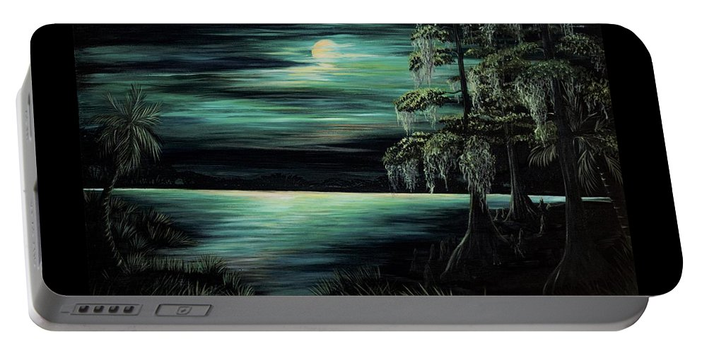 Bayou Portable Battery Charger featuring the painting Bayou By Moonlight by Rachel McClure