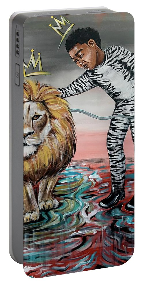 Son Portable Battery Charger featuring the painting Be Courageous My Son by Artist RiA
