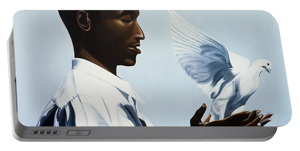 Be Free Three Portable Battery Charger featuring the painting Be Free Three by Kaaria Mucherera