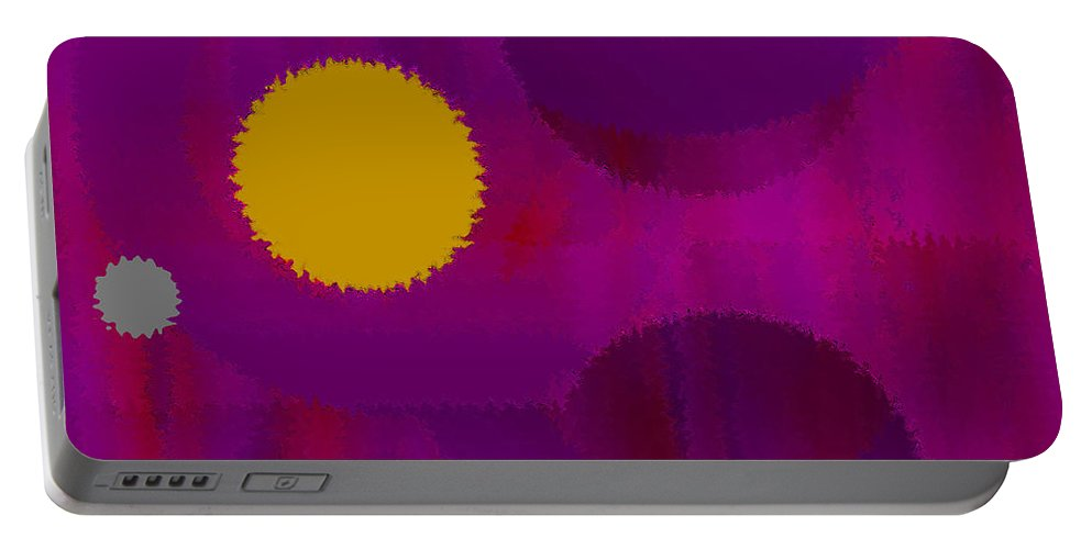 Abstract Portable Battery Charger featuring the digital art Be Happy by Ruth Palmer