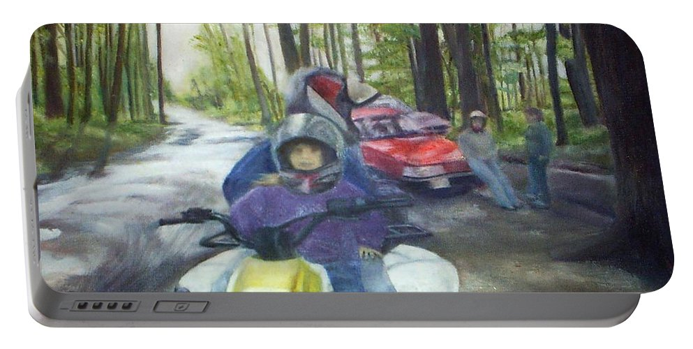 Quad Portable Battery Charger featuring the painting Be Right Back by Sheila Mashaw