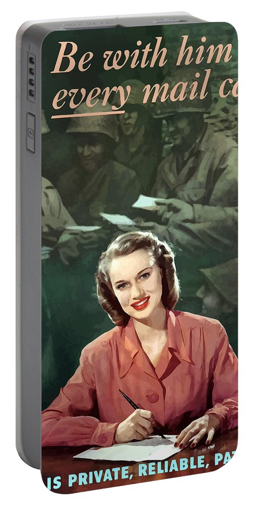 V Mail Portable Battery Charger featuring the painting Be With Him At Every Mail Call by War Is Hell Store