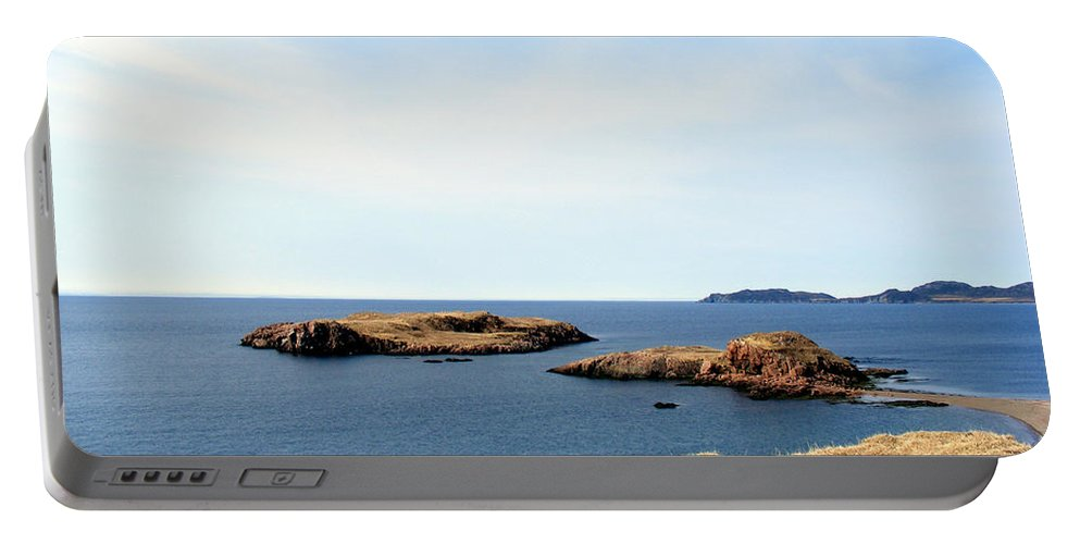 Beach Portable Battery Charger featuring the photograph Beach And Rocky Shoreline by Barbara Griffin