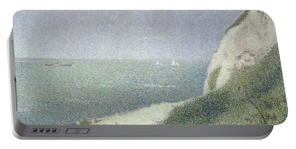 Beach At Bas Butin Portable Battery Charger featuring the painting Beach At Bas Butin by Georges Pierre Seurat