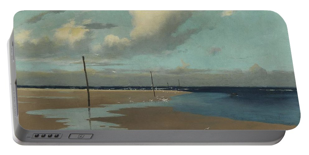 Beach Portable Battery Charger featuring the painting Beach At Low Tide by Frederick Milner
