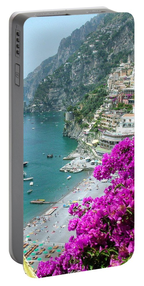 Positano Portable Battery Charger featuring the photograph Beach At Positano by Donna Corless