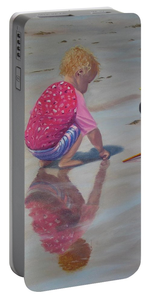 Baby Portable Battery Charger featuring the painting Beach Baby by Lea Novak