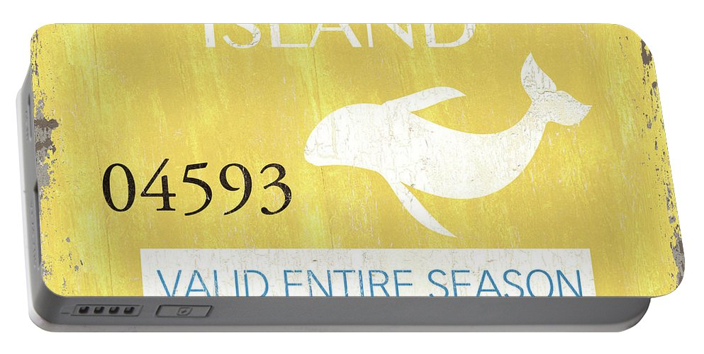 Beach Portable Battery Charger featuring the painting Beach Badge Long Beach Island 2 by Debbie DeWitt