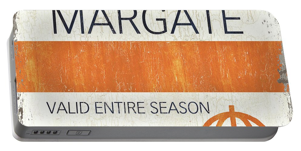 Beach Portable Battery Charger featuring the painting Beach Badge Margate by Debbie DeWitt