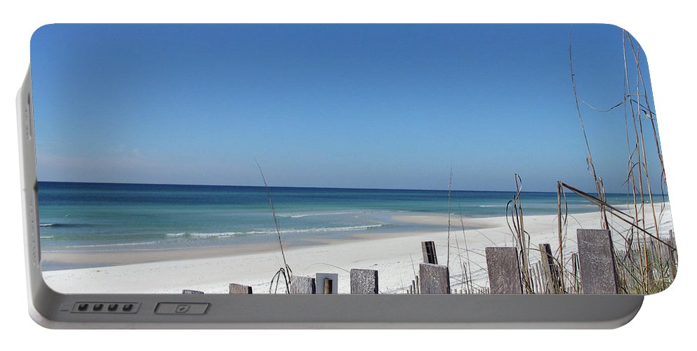 Beach Portable Battery Charger featuring the photograph Beach Behind The Fence by Christiane Schulze Art And Photography
