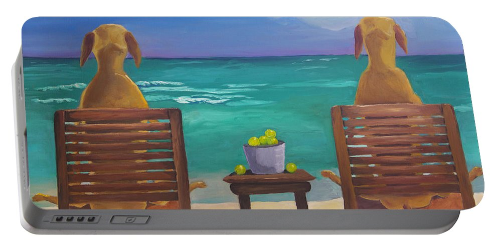 Labrador Portable Battery Charger featuring the painting Beach Blondes by Roger Wedegis