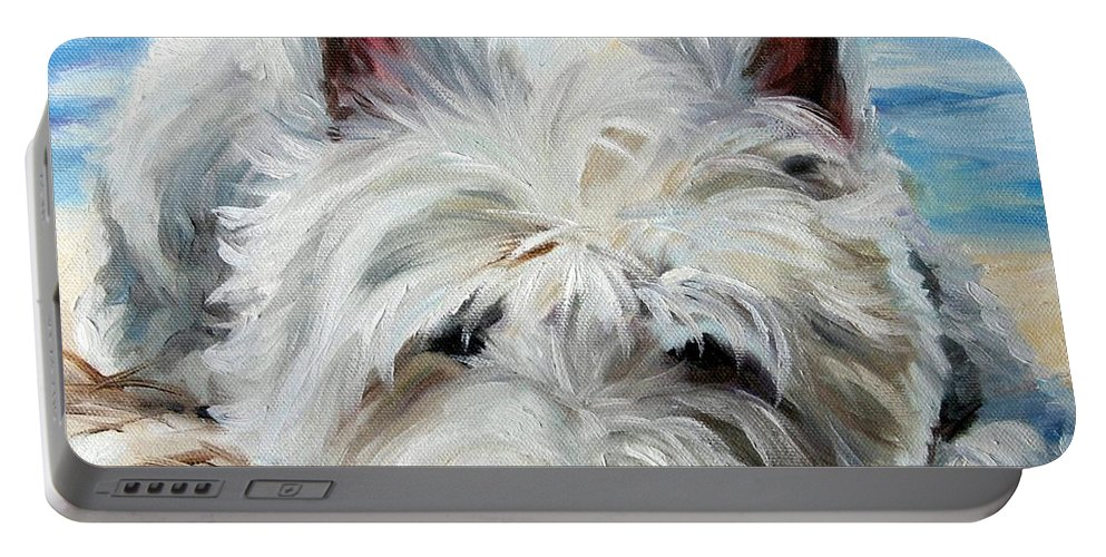 Art Portable Battery Charger featuring the painting Beach Bum by Mary Sparrow