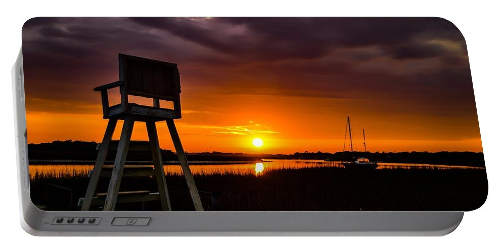 Beach Portable Battery Charger featuring the photograph Beach Chair by Angela Sherrer
