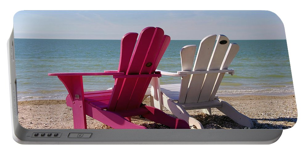 Beach Chairs Portable Battery Charger featuring the photograph Beach Chairs by David Lee Thompson