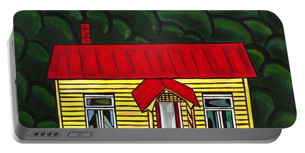 Cottage Portable Battery Charger featuring the painting Beach Cottage by Sandra Marie Adams