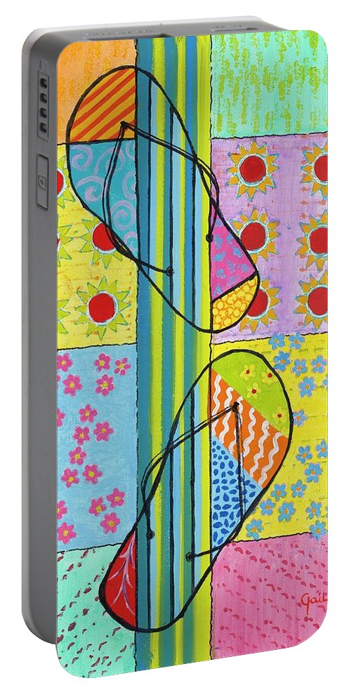 Beach Portable Battery Charger featuring the painting Beach Feet by Gail Krol