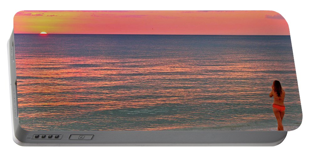 Beach Portable Battery Charger featuring the photograph Beach Girl And Sunset by Scott Mahon