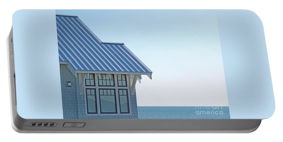 Blue Portable Battery Charger featuring the photograph Beach House Blues by Ann Horn