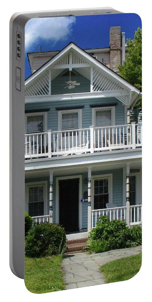 Victorian House Portable Battery Charger featuring the photograph Beach House Panel 3 from Triptych by Steve Karol