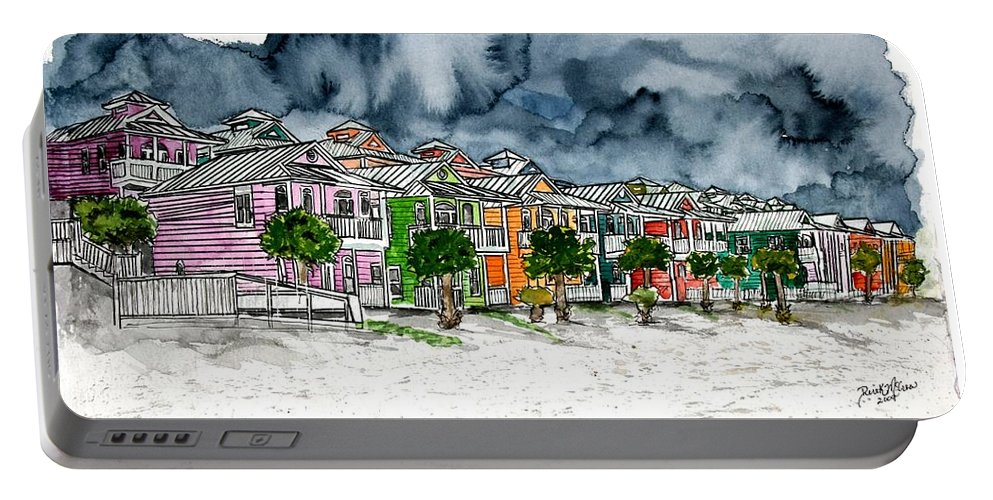 Watercolor Portable Battery Charger featuring the painting Beach Houses Watercolor Painting by Derek Mccrea