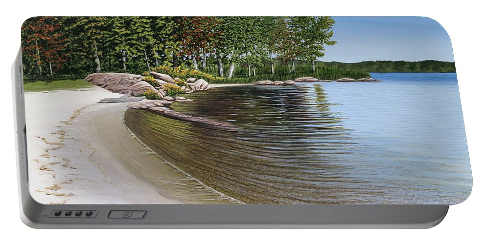 Landscapes Portable Battery Charger featuring the painting Beach In Muskoka by Kenneth M Kirsch