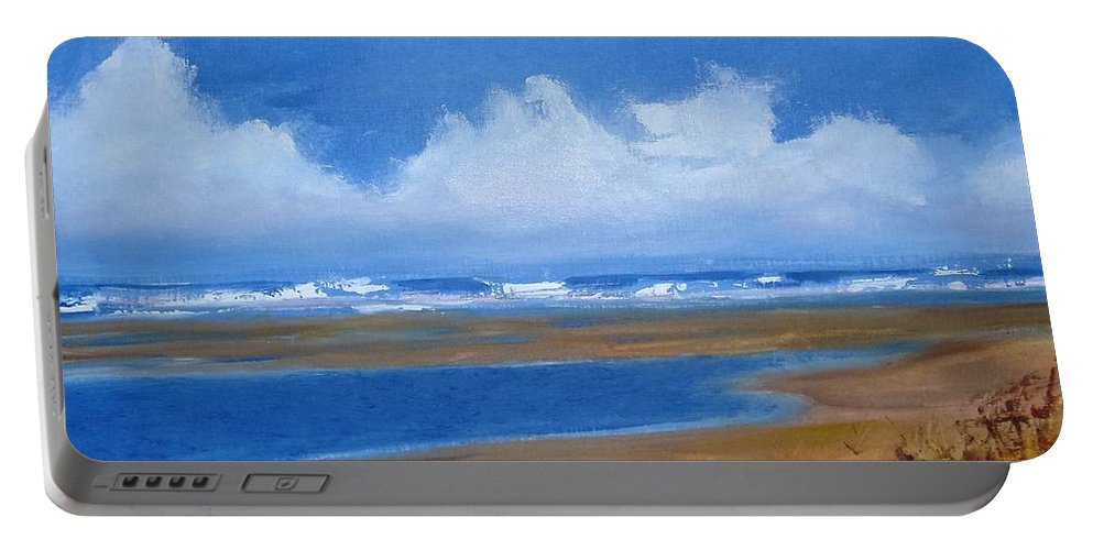 Seascape Portable Battery Charger featuring the painting Beach In Norfolk, England by Angela Cartner