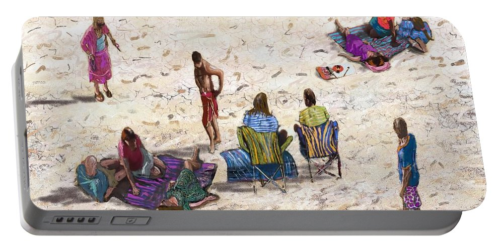 Portable Battery Charger featuring the digital art Beach Life Cornwall by Kevin Collins
