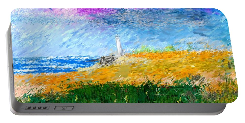 Digital Painting Portable Battery Charger featuring the digital art Beach Lighthouse by David Lane