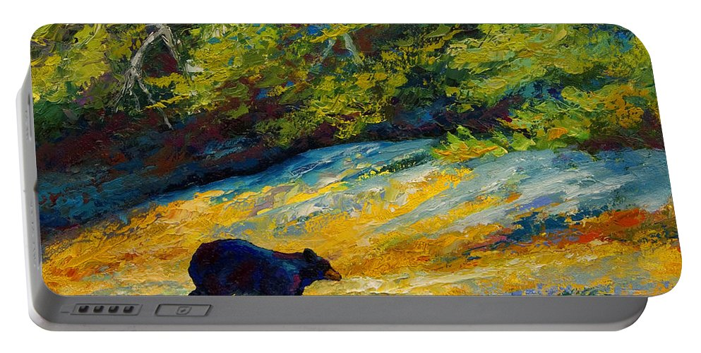 Bear Portable Battery Charger featuring the painting Beach Lunch - Black Bear by Marion Rose