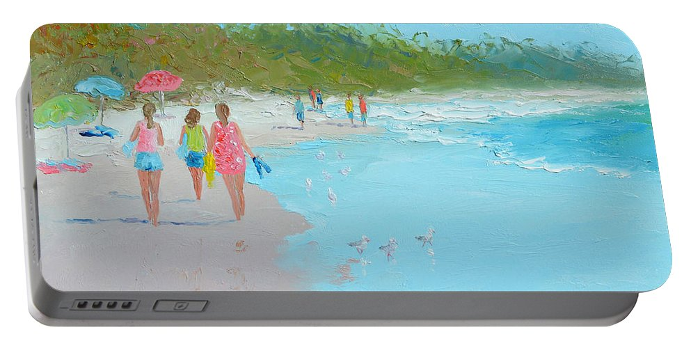 Beach Portable Battery Charger featuring the painting Beach Painting 'beach Strolling' By Jan Matson by Jan Matson