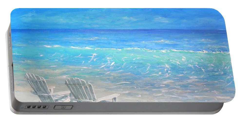Beach Portable Battery Charger featuring the painting Beach Relaxation by Paul Emig