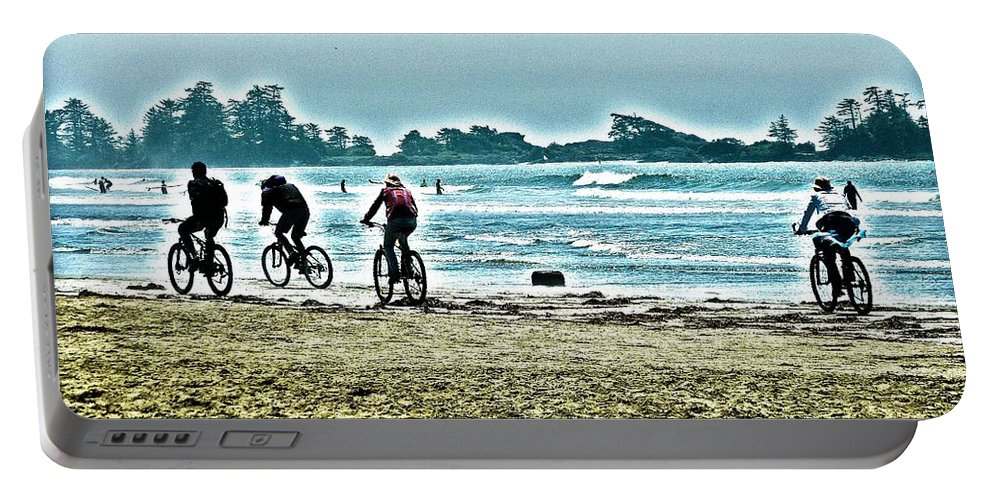 Tofino Portable Battery Charger featuring the digital art Beach Ride by Alicia Kent